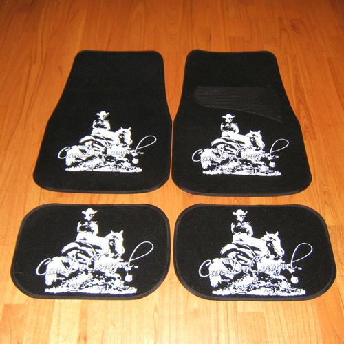Black Upholstered Cowgirl Floor Mats Set Of 4 Candocowgirl